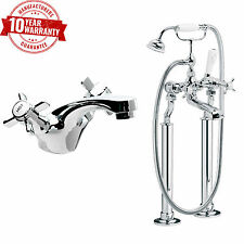Traditional Freestanding Bath Shower Mixer & Basin Tap Cross Handle Crank Legs