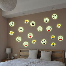 Glow In The Dark Luminous Fluorescent PVC Wall Stickers Smiley Face Wall Decal