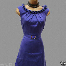 Exquisite Karen Millen 1940s Purple Blue Belted Rope Tea Cocktail Dress 10 UK