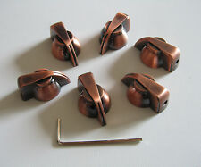 "6x Bronze Chicken Head Knob 1/4"" Guitar Amp Effect Pedal Knobs w/ Set Screw"