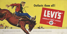 """LEVI'S - AMERICA'S FINEST OVERALL - OUR 100th YEAR"" ADVERTISING METAL SIGN"