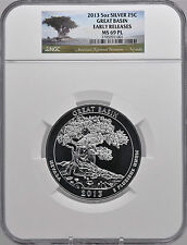 2013 5oz Silver 25C Great Basin NGC MS69 PL Early Releases beautiful must see!