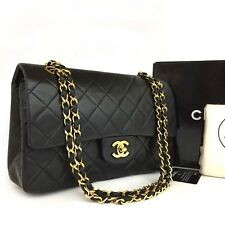 CHANEL Double Flap 25 Quilted CC Logo Lambskin w/Chain Shoulder Bag Black/CDB