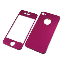High Quality Brushed Aluminium Skin Case Hot Pink For iPhone 4/4S Front & Back