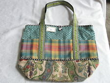 Mackenzie Childs Plaid w/ Courtly Check Retired TREMENDOUS TOTE BAG Purse NEW