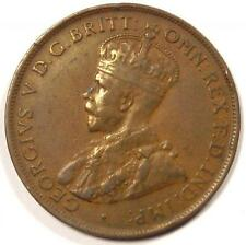 1925-m Australia George V Penny (1D Coin) - Sharp Detail - $200 Value in VF