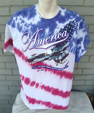 America Tie-Dye Red White Blue Patriotic T-Shirt Eagle Freedom Extra Large