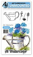 Watering Can, WATERCOLOR Unmounted Rubber Stamp Set ART IMPRESSIONS - NEW, 4761