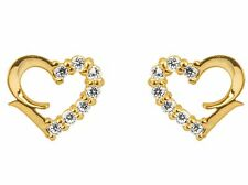 1x Pair of 9ct Yellow Gold Heart CZ Gem Stone Set Ear Studs Earrings + gift bag