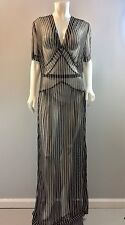 Vintage 30s 40s Sheer Net Dress Gown Stripe 48 Bust Gatsby Downton Abbey Large