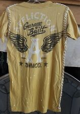 Affliction Lost Souls Yellow Stitch Detail V Neck Top Garge Built Sz S NWT