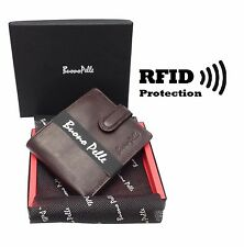 RFID SAFE Blocking Leather Mens Wallet Contactless Card Zipped Coin Pocket