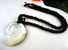 1 Beautiful Black Beaded Natural Shell Carved Pendant Necklace - #2026