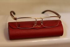 CARTIER SILVER ENGRAVED WOOD finish Eyeglasses Frames Size 54