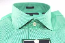 Mens Tommy Hilfiger Designer Dress Shirt 15 32/33 Green White Stripe Slim Fit