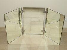 RARE ancien GRAND miroir triptyque laiton chrome salle de bain deco vintage
