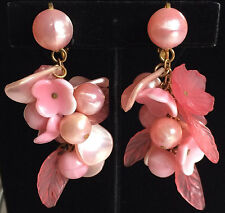 Vintage Miriam Haskell Extra Long Drop Earrings~Glass/Pearls/Shells/Beads~Signed
