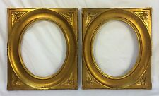 Pair Vintage Art Deco Oval Interior Gold Carved Frames 8 1/2 x 10 1/2 Opening