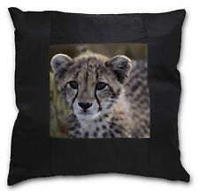 Cheetah Black Border Satin Scatter Cushion Christmas Gift, AT-24-CSB