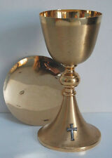 "NICE GOLD PLATED CHALICE AND PATEN SET ""V"" (CHURCH, RELIGIOUS CO.)"