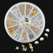 1 Wheel Nail Art 3D Seashell Starfish Mermaid Ocean UV Gel Charms Decorations