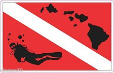 Hawaii Dive Sticker Diver Down Dive Flag Sticker Decal