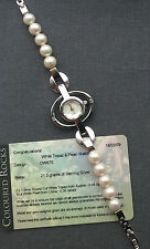 GENUINE Rocks TV Stunning 925 Sterling silver TOPAZ & PEARLS Watch up to 7.5""