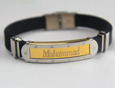 MUHAMMAD - Bracelet With Name - Mens Silicone & Gold Tone Engraved - Gifts