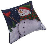 "CHRISTMAS SNOWMAN BIRD TREES RED BLUE COTTON TAPESTRY CUSHION COVER 17"" C23"