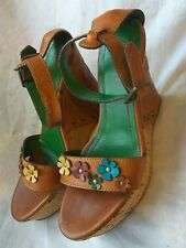 MISS 60 SIXTY LEATHER SANDALS PLATFORM BROWN STRAPS WEDGE HEELS SIZE UK 5 38