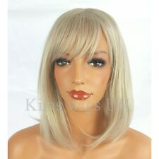 FULL WOMENS LADIES FASHION HAIR WIG LIGHT SILVER GREY SHOULDER LENGTH BOB UK
