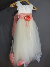 Girl's Kid's Dream Sleeveless Flower Girl Wedding Party Dress Ivory Coral 5-6
