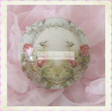 PINK ROSES ceramic KNOB PULL cabinet desk office ROMANTIC floral kitchen living