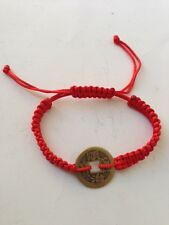 FENG SHUI RED STRING BRACELET WITH CHINESE COIN FOR GOOD FORTUNE AND WEALTH LUCK