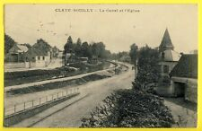 CPA France 77 - CLAYE SOUILLY en 1921 (Seine et Marne) Le CANAL et l'ÉGLISE