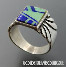 TEME SUNBURST HANDCRAFTS STERLING SILVER MOSAIC INLAY SOUTHWESTERN RING (10.25)
