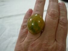 VINTAGE GREEN & BUTTERSCOTCH MARBLEIZED BAKELITE DOME EGG RING ~ TAKE A LOOK!