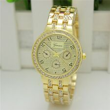 New Geneva Ladies Designer Wrist Watch With Golden Rhinestone  Bracelet