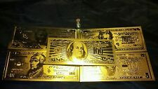 ~7Pc.Lot~Cool.999Gold Banknote Rep*$5,10,20,50,100&Coin+ Gold Flake Free~Shipping
