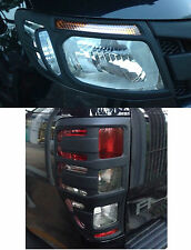 MATT BLACK FRONT HEADLIGHT REAR TAIL LIGHT LAMP COVER TRIM FORD RANGER PX T6
