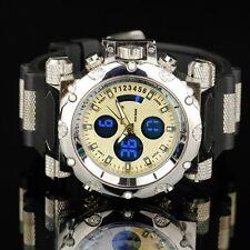 INFANTRY Herren Analog Quarz Digitaluhr Armbanduhr Wecker Datum Flieger Silber