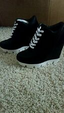 Black wedge hidden heel platform fashion sneaker ankle boots 6.5