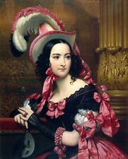 Oil painting Joseph Desire Court - young woman noblelady holding mask for ball