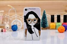 Cute 3D Glasses Girl Hard Case Cover For Apple iPhone 4 4S