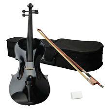 New 16 Inch Black Beginner Adult Basswood Acoustic Viola with Case Rosin Bow