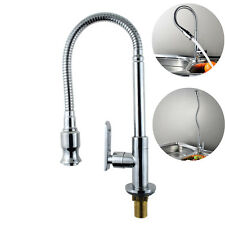 New Brass Pull Out Kitchen Faucet Swivel Spout Sink Water Tap Single Cold Silver