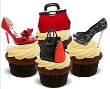 Novelty RED BLACK HANDBAG SHOE MIX 12 STAND UP Edible Cake Toppers birthday