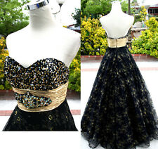 NWT Mac Duggal 76246H Gold Black $498 Evening Gown 12