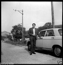 Portrait Voiture ancienne Peugeot 404 - Négatif photo ancien an. 1960 70