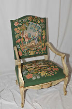 BEAUTIFUL Antique French Needlepoint Arm Chair Lovely Flower Interesting Garden
